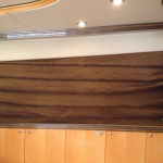 Electric Roman Shade, automated roman shade, motorized roman shade, yacht blinds, yacht shades, boat blinds, boat shades,