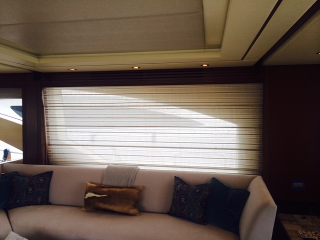 Flat Front Roman Shades Made With A Sheer Fabric For An Elegant Yacht Window Treatment Our Client Wanted Some Privacy But Not To Darken Their Living Space
